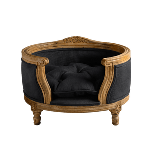 George Luxury Pet Bed by Lord Lou | Oak | Upholstered | Anthracite Dog Beds Bed Type_Luxury Dog Beds, Brand_Lord Lou, Collection_George, Lord Lou Luxury Collection, Material_Oak, Size_Medium, Size_Small Lord Lou