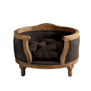 George Luxury Pet Bed by Lord Lou | Oak | Upholstered | Belgian Charcoal Dog Beds Bed Type_Luxury Dog Beds, Brand_Lord Lou, Collection_George, Lord Lou Luxury Collection, Material_Oak, Size_Medium, Size_Small Lord Lou