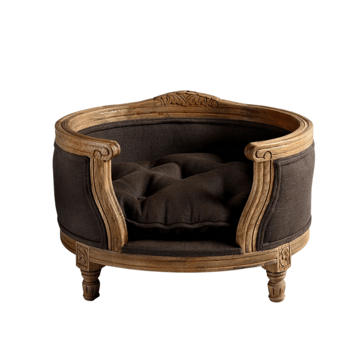 George Luxury Pet Bed by Lord Lou | Oak | Upholstered | Belgian Charcoal