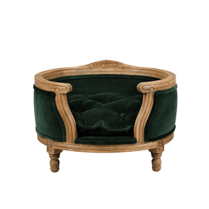 Lord Lou Dog Beds George Luxury Pet Bed by Lord Lou | Oak | Upholstered | Emerald Green | LIMITED EDITION PetsOwnUs - Pets Own Us