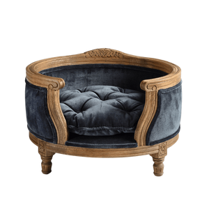 George Luxury Pet Bed by Lord Lou | Oak | Upholstered | Royal Blue Velvet Dog Beds Bed Type_Luxury Dog Beds, Brand_Lord Lou, Collection_George, Lord Lou Luxury Collection, Material_Oak, Size_Medium, Size_Small Lord Lou