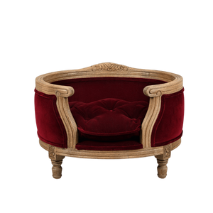 George Luxury Pet Bed by Lord Lou | Oak | Upholstered | Ruby Red | LIMITED EDITION Dog Beds Bed Type_Luxury Dog Beds, Brand_Lord Lou, Collection_George, Lord Lou Luxury Collection, Material_Oak, Size_Medium, Size_Small Lord Lou