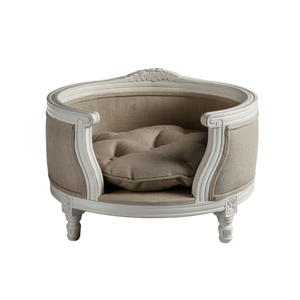 Lord Lou Dog Beds George Luxury Pet Bed by Lord Lou | White Oak | Upholstered | Linen Ecru PetsOwnUs - Pets Own Us