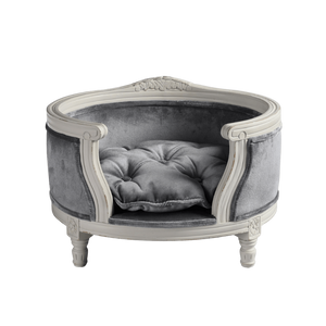 George Luxury Pet Bed by Lord Lou | White Oak | Upholstered | Silver Grey Velvet Dog Beds Bed Type_Luxury Dog Beds, Brand_Lord Lou, Collection_George, Lord Lou Luxury Collection, Material_Oak, Size_Medium, Size_Small Lord Lou