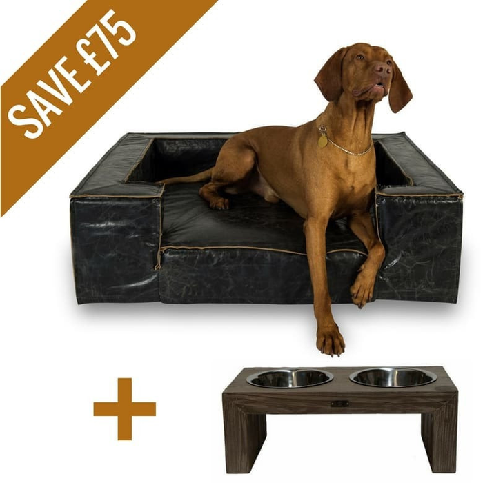 Lord Lou Luxury Luciano Dog Bed & Pet Feeder Set for Large Breeds