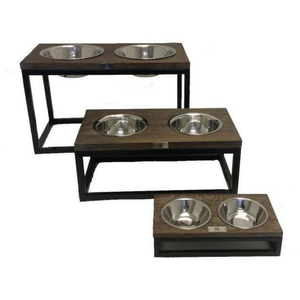 Lord Lou Pet bowls, feeders & waterers Small Lord Lou Roma Double Pet Feeder in solid oak 301 PetsOwnUs - Pets Own Us