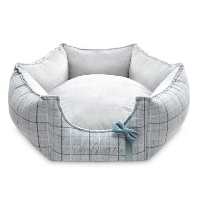 Charm Blue Hexagon Pet Bed by Oh Charlie - Blue