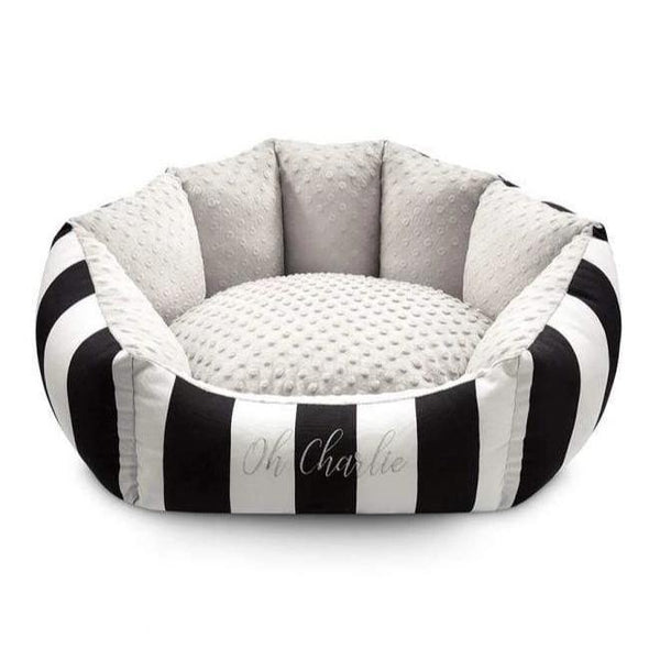 Oh Charlie Dog Beds Lisbon Pet Bed by Oh Charlie - Black & White Stripes PetsOwnUs - Pets Own Us