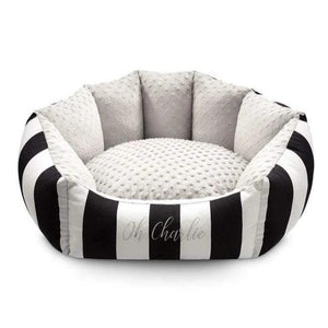 Lisbon Pet Bed by Oh Charlie - Black & White Stripes Dog Beds Bed Type_Soft Beds, Brand_Oh Charlie, Color_Black & White Stripes, Size_Medium, Size_Small Oh Charlie