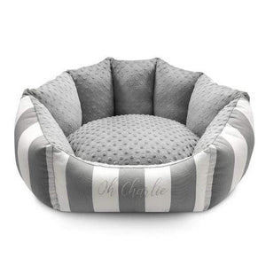 Lisbon Pet Bed by Oh Charlie - Grey & White Stripes Dog Beds Bed Type_Soft Beds, Brand_Oh Charlie, Color_Grey & White Stripes, Size_Medium, Size_Small Oh Charlie