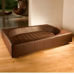 Pet Interiors Luxury Dog Bed Small / Brown Cube Faux Leather Luxury Dog Bed By Pet Interiors PetsOwnUs - Pets Own Us