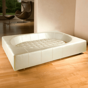 Pet Interiors Luxury Dog Bed Small / Cream Cube Leather Luxury Dog Bed By Pet Interiors PetsOwnUs - Pets Own Us
