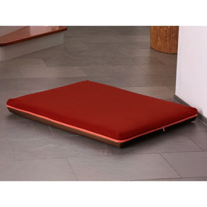 Pet Interiors Dog Bed Medium / Red Memory Foam Dog Bed in Brown Faux Leather PetsOwnUs - Pets Own Us