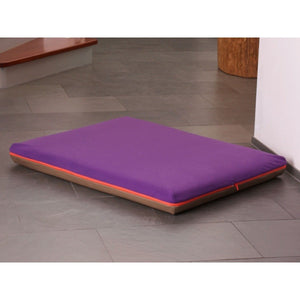 Pet Interiors Dog Bed Medium / Violet Memory Foam Dog Bed in Taupe Faux Leather PetsOwnUs - Pets Own Us