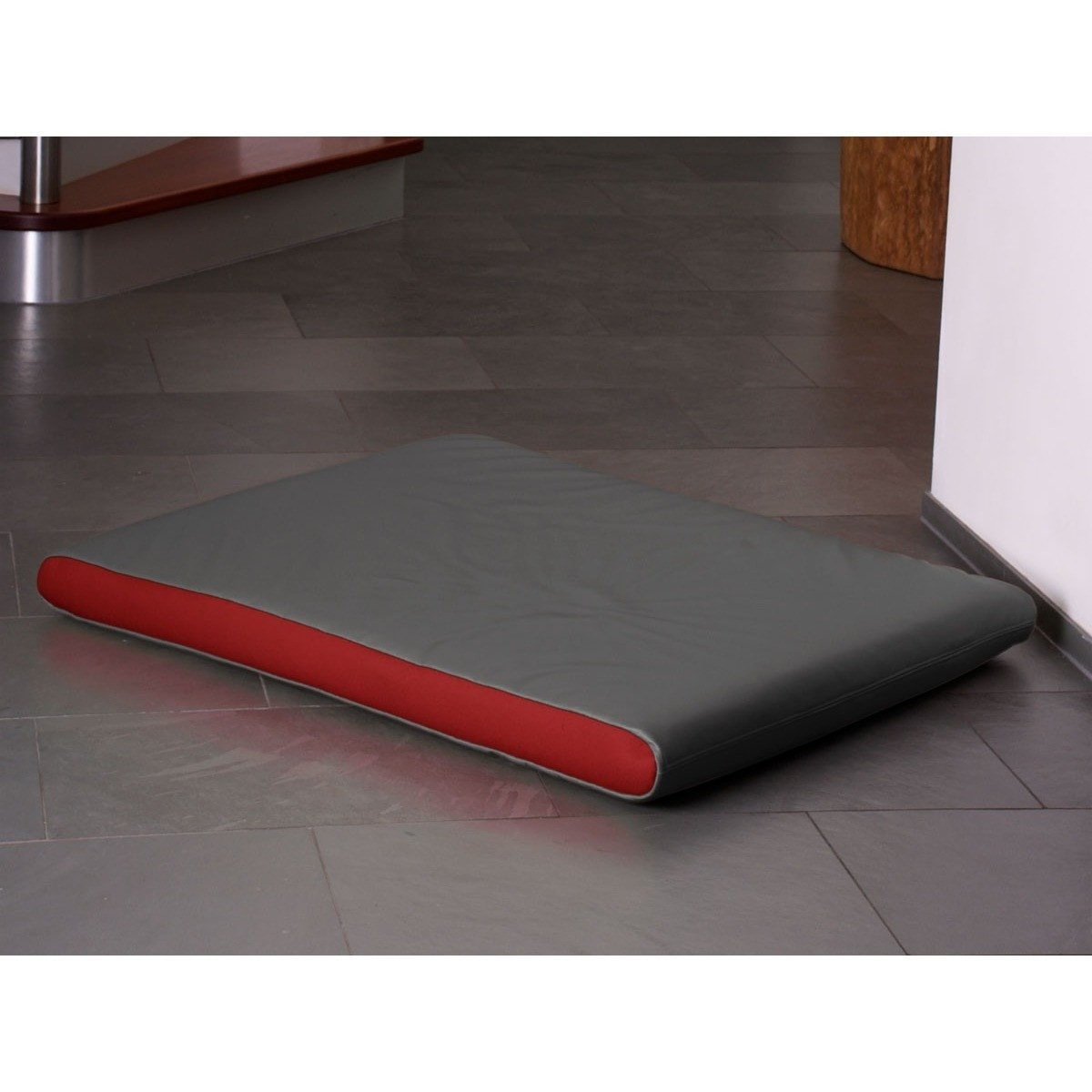 Pet Interiors Dog Beds Medium / Red Memory Foam Dog Mattress in Grey Faux Leather PetsOwnUs - Pets Own Us