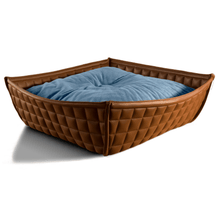 Pet Interiors Cat Beds Xtra Small / Blue Orthopedic Cat Bed By Pet Interiors- Brown Leather Bowl PetsOwnUs - Pets Own Us