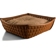 Pet Interiors Cat Beds Xtra Small / Caramel Orthopedic Cat Bed By Pet Interiors- Brown Leather Bowl PetsOwnUs - Pets Own Us