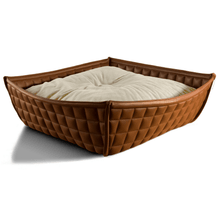 Pet Interiors Cat Beds Xtra Small / Cream Orthopedic Cat Bed By Pet Interiors- Brown Leather Bowl PetsOwnUs - Pets Own Us