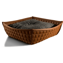 Pet Interiors Cat Beds Xtra Small / Graphite Orthopedic Cat Bed By Pet Interiors- Brown Leather Bowl PetsOwnUs - Pets Own Us