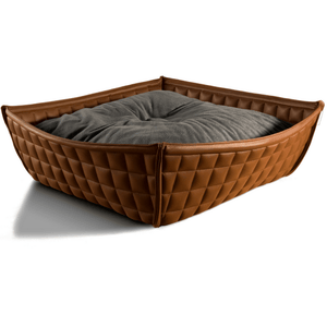 Pet Interiors Cat Beds Xtra Small / Grey Orthopedic Cat Bed By Pet Interiors- Brown Leather Bowl PetsOwnUs - Pets Own Us