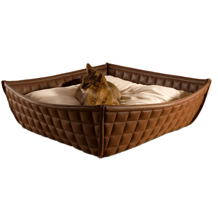 Orthopedic Cat Bed By Pet Interiors- Brown Leather Bowl
