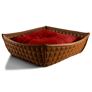 Pet Interiors Cat Beds Xtra Small / Red Orthopedic Cat Bed By Pet Interiors- Brown Leather Bowl PetsOwnUs - Pets Own Us