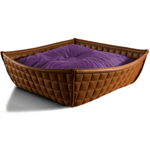 Pet Interiors Cat Beds Xtra Small / Violet Orthopedic Cat Bed By Pet Interiors- Brown Leather Bowl PetsOwnUs - Pets Own Us