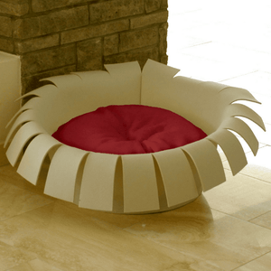 Pet Interiors Cat Beds Cream / Red Orthopedic Cat Bed By Pet Interiors- Cream Felt Crown PetsOwnUs - Pets Own Us