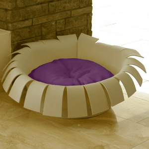 Pet Interiors Cat Beds Cream / Violet Orthopedic Cat Bed By Pet Interiors- Cream Felt Crown PetsOwnUs - Pets Own Us