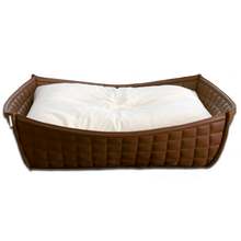 Pet Interiors Dog Beds Xtra Small / Cream Orthopedic Dog Bed By Pet Interiors- Brown Leather Bowl PetsOwnUs - Pets Own Us