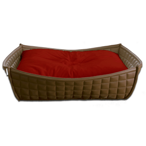 Pet Interiors Dog Beds Xtra Small / Red Orthopedic Dog Bed By Pet Interiors- Brown Leather Bowl PetsOwnUs - Pets Own Us