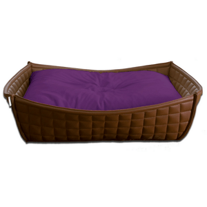 Pet Interiors Dog Beds Xtra Small / Violet Orthopedic Dog Bed By Pet Interiors- Brown Leather Bowl PetsOwnUs - Pets Own Us