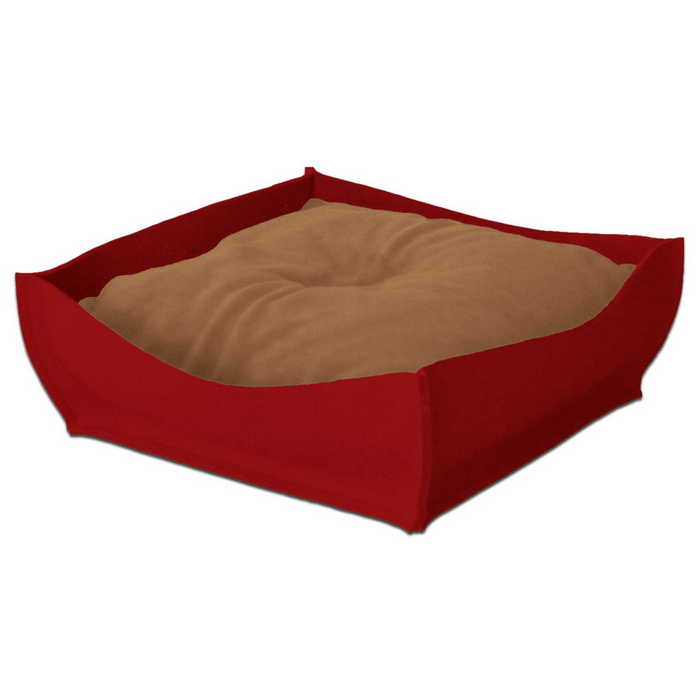 Orthopedic Pet Bed By Pet Interiors - Red Felt Bowl