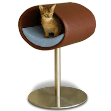 Pet Interiors Cat Beds Brown / Blue Rondo Leather Cat Cave Stand by Pet Interiors- Brown Leather PetsOwnUs - Pets Own Us