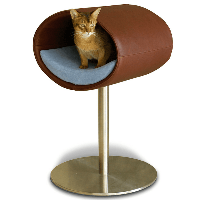 Rondo Leather Cat Cave Stand by Pet Interiors- Brown Leather