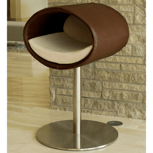 Pet Interiors Cat Beds Brown / Cream Rondo Leather Cat Cave Stand by Pet Interiors- Brown Leather PetsOwnUs - Pets Own Us