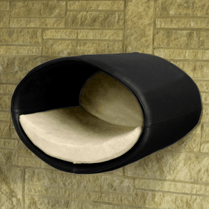 Pet Interiors Cat Beds Black / Cream Rondo Wall Cat Faux Leather Cave by Pet Interiors PetsOwnUs - Pets Own Us