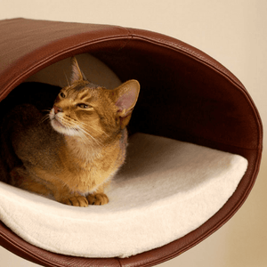 Pet Interiors Cat Beds Cream / Cream Rondo Wall Cat Faux Leather Cave by Pet Interiors PetsOwnUs - Pets Own Us