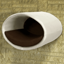 Pet Interiors Cat Beds Cream / Dark Brown Rondo Wall Cat Faux Leather Cave by Pet Interiors PetsOwnUs - Pets Own Us