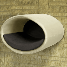 Pet Interiors Cat Beds Cream / Graphite Rondo Wall Cat Faux Leather Cave by Pet Interiors PetsOwnUs - Pets Own Us