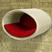 Pet Interiors Cat Beds Cream / Red Rondo Wall Cat Faux Leather Cave by Pet Interiors PetsOwnUs - Pets Own Us