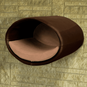 Pet Interiors Cat Beds Dark Brown / Caramel Rondo Wall Cat Faux Leather Cave by Pet Interiors PetsOwnUs - Pets Own Us