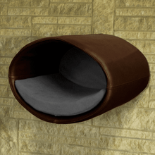 Pet Interiors Cat Beds Dark Brown / Graphite Rondo Wall Cat Faux Leather Cave by Pet Interiors PetsOwnUs - Pets Own Us