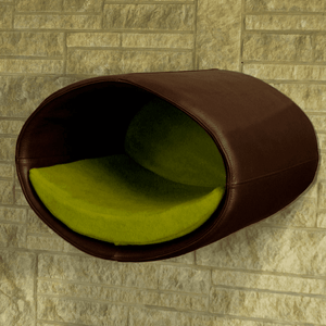Pet Interiors Cat Beds Dark Brown / Pea Green Rondo Wall Cat Faux Leather Cave by Pet Interiors PetsOwnUs - Pets Own Us