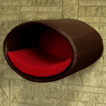 Pet Interiors Cat Beds Dark Brown / Red Rondo Wall Cat Faux Leather Cave by Pet Interiors PetsOwnUs - Pets Own Us