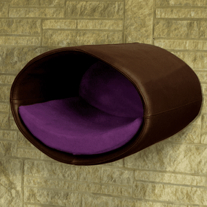 Pet Interiors Cat Beds Dark Brown / Violet Rondo Wall Cat Faux Leather Cave by Pet Interiors PetsOwnUs - Pets Own Us