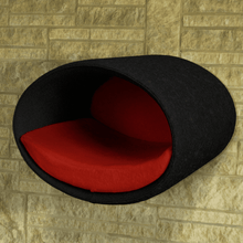 Pet Interiors Cat Beds Anthracite / Red Rondo Wall Cat Felt Cave by Pet Interiors PetsOwnUs - Pets Own Us