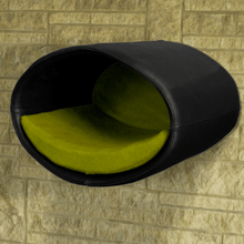 Pet Interiors Cat Beds Black / Pea Green Rondo Wall Cat Leather Cave by Pet Interiors PetsOwnUs - Pets Own Us
