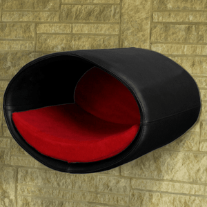 Pet Interiors Cat Beds Black / Red Rondo Wall Cat Leather Cave by Pet Interiors PetsOwnUs - Pets Own Us