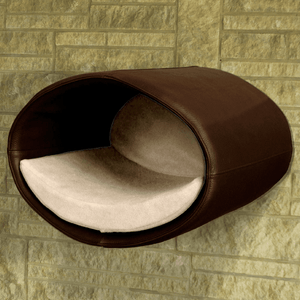 Pet Interiors Cat Beds Brown / Cream Rondo Wall Cat Leather Cave by Pet Interiors PetsOwnUs - Pets Own Us
